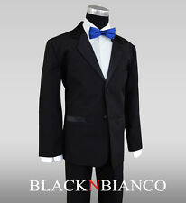 Formal Ring Bearer Boys Tuxedos in Black with Royal Blue Bow Tie Extra Bow Tie