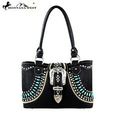Montana West Handbag Western Buckle & Beads Country Cowgirl Purse Bling Bag NEW