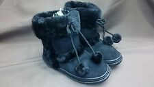 NICE AVIVA SIZES 11-3 BLACK FAUX FUR WINTER WARM BOOT SHOES GIRLS ZIPPERED NEW
