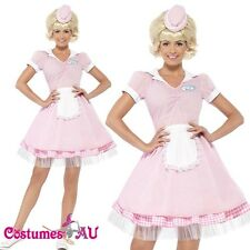 Ladies 50's 50s Diner Girl Waitress Costume 1950s Female Rock N Roll Fancy Dress