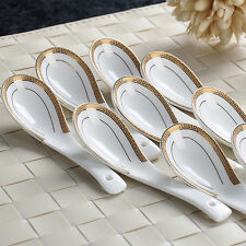 5/10 PCS White Porcelain Gold Patterned Chinese Dinner Soup Rice Ceramics Spoons
