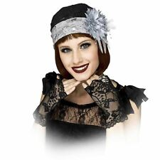 Flapper Cloche Hat & Gloves 1920's Gatsby Flapper Costume Accessory Kit Lace