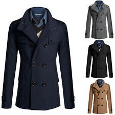 Mens Stylish Double Breasted Warmer Winter Long Trench Coat Overcoat Jacket New