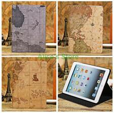 For iPad Mini 1/2/3 iPad Air 2 World Map PU Leather Smart Flip Cover Stand Case