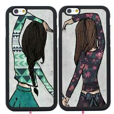 Cute Best Friend Girls Couple Case Cover for iPhone 4/4S/5/5S/SE/6/6S Plus Skin