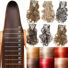Straight blonde curly full head clip in hair extensions 8pieces for human H84