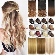 5 Clips Real Natural Half Full Head Clip In Hair Extension One Piece On Wavy H89