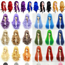 "24"" Medium Cosplay Full Wigs Multi Colors Curly Hair Lady Costume Party Dress L4"