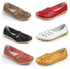 Fashion Casual Womens Genuine Leather Ballet Flats Oxfords Hollow Loafers Shoes