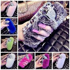 Bling Luxury Crystal Diamonds Fox Head Rabbit Fur Furry Phone Case Cover Fashion