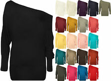 New Ladies Long Sleeve Off Shoulder Batwing Plain TShirt Womens Tunic Top
