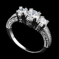 Size 6-9  Sapphire Silver Wedding Band Ring 10KT White Gold Filled Jewelry