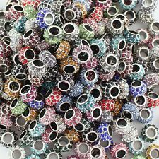 Big Hole Czech Crystal Rhinestone Rondelle Spacer European Charms Beads 8X12mm