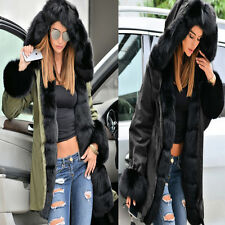 Roiii Winter Womens New Coat Warm Hooded Military Jacket Fur Lined Long Parka