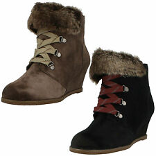 SALE LADIES CLARKS BLACK, TAUPE SUEDE LACE, ZIP UP WEDGE HEEL BOOTS LUMIERE SPIN