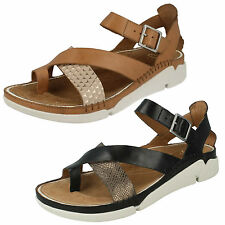 LADIES CLARKS CROSSOVER TOE POST BUCKLE STRAP LEATHER SUMMER SANDALS TRI ARIANA