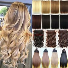 100% Natural 3/4 Full Head Clip In Hair Extensions Real Curly Straight Ombre H95