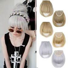 100% Natural Hair Extension Clip In Front Hair Bangs Fringe Straight Hair H95