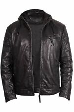 Brandslock Vintage Mens Hooded Real Leather Bomber Jacket Casual Fitted Style