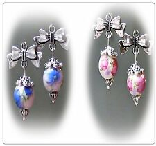 Earrings Porcelain, bow charm, pink or blue and clip on or pierced fittings