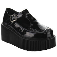 DEMONIA CREEPER-214 Women Side Cutout T-Strap Platform Creeper Shoes New In Box