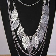 Womens Multilayer Hollow Leaves Pendant Long Sweater Chain Jewelry Necklace YH