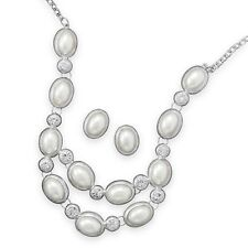Silver-tone Simulated Pearl and Crystal Bib Necklace and Earring Set