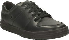 BOYS BOOTLEG BY CLARKS HARLEM SPIN BLACK LEATHER SENIOR SCHOOL WORK SHOES