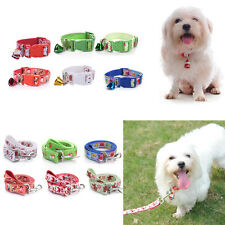 Christmas Dog Puppy Cat Pet Neck Collar Strap Adjustable Buckle + Lead Leash Set