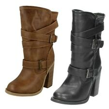 Ladies Spot On Mid Calf Length Boots / Buckle Design / Pull On / Block Heel