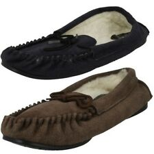 Mens Vamp Moccasin Fleece Lined Slippers