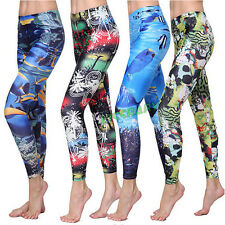Womens Print Fittness Diving Snorkeling Swim Legging Jogging Pencil Pants Long