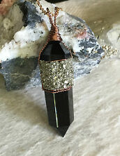 Black Obsidian Crystal Point With Crushed Pyrite Pendant