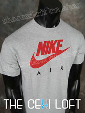 NWT! Mens Official NIKE Brand T Shirt in GREY Red AIR Logo & Swoosh #268838
