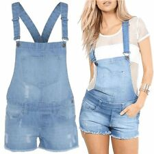 Womens Denim Jeans Light Wash Shorts Frayed Ladies Dungaree Jumpsuit Playsuit