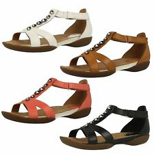 LADIES CLARKS RAFFI SCENT T BAR FLAT BUCKLE STRAPPY CASUAL LEATHER SANDALS SHOES