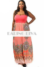 Strapless Printed Maxi Dress Coral