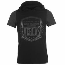 MENS GREY WHITE EVERLAST BOXING GYM SHORT SLEEVE HOODIE HOODY SWEATSHIRT TOP