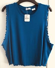 Urban Outfitters Blue Scalloped Edge Lettuce Low Armhole Tank Top UK M RRP £16
