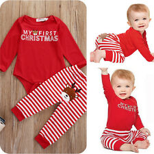 My First Chritsmas Newborn Baby Boy Girl Clothes Bodysuit Romper+Pants Outfit