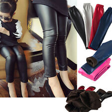Girls Kids Children Fall Winter Leather Leggings Pants Fittness Legging Trousers