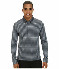 Puma Golf Polo Mens Small or Medium Long Sleeve Gray Striped Shirt New
