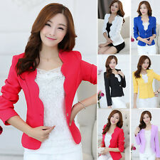 New Fashion Women Candy Color Casual Slim Solid Suit Blazer Jacket Coat Outwear