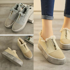 Fashion Women Canvas Flats Shoes Slip On Comfort Zip Casual Sport Shoes Loafers