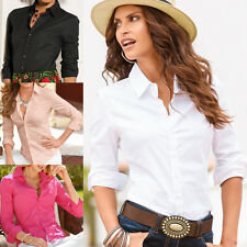 Womens Slim Fit Long Sleeve Casual Blouse Shirt Tops Business Fashion Shirt US