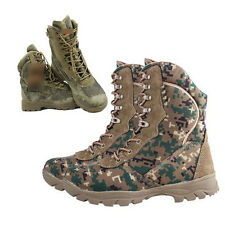 Mens Camouflage Leather Military Tactical Combat Outdoor Desert Climbing Boots