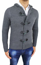 MONTGOMERY MEN'S SWEATER GREY CASUAL WINTER JACKET CARDIGAN HOODED
