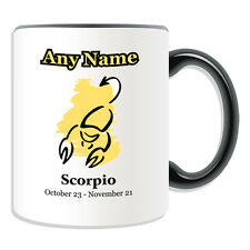 Personalised Gift Colour Simple Drawing Scorpio Mug Money Box Cup Star Sign Name