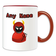 Personalised Gift Red Devil Mug Money Box Cup Icon Design Name Evil Dark Ghost