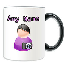 Personalised Gift Photographer Mug Money Box Cup Icon Design Name Artist Camera